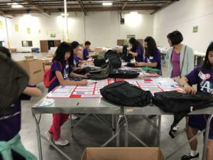 FGT warehouse volunteer services - backpack quality check